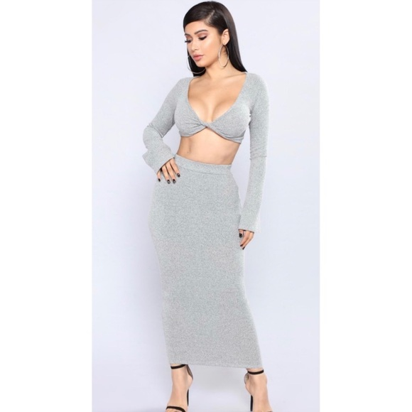 389a2ba89b Fashion Nova Skirts | Grey Crop Top Skirt Set Small | Poshmark